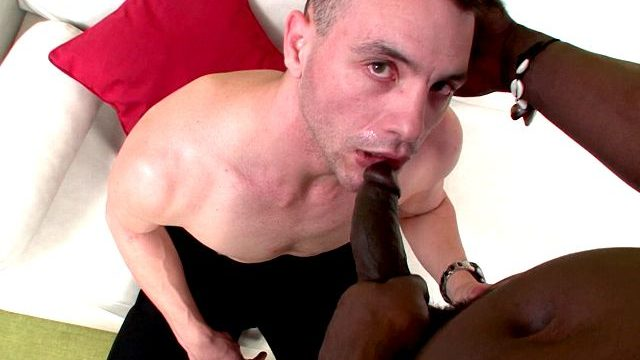 Excited Brunette Homosexual John Slurping Canu's Monumental Black Cock On His Knees