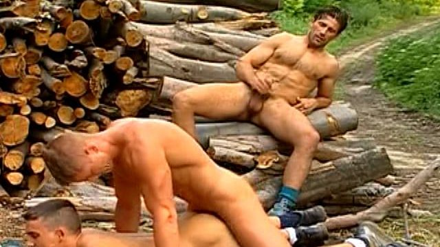 3 Sexually Aroused Homos Boning Their Cock-squeezing Puckers And Draining Off Their Large Boners Outside