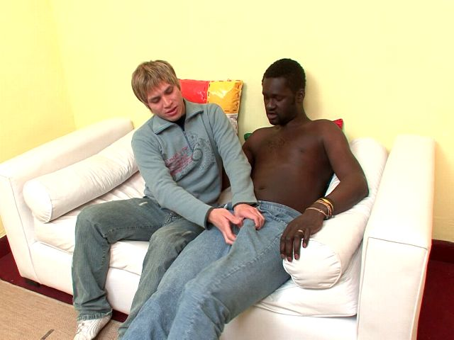 Light-haired Fledgling Homosexual Cristian Provides Fellatio And Will Get Rump Drilled Through Dark-hued Canu At The Sofa